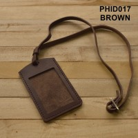 gantungan ID card kulit asli warna coklat| id card holder PHID017