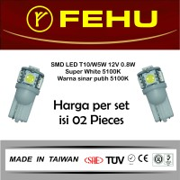 Fehu SMD LED T10/W5W 12V 0.8W Super White. Warna sinar putih 5100K