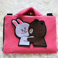 "Cony Brown Type 2 Velboa 10""&11""-12 Inch Softcase Tas Laptop Netbook"