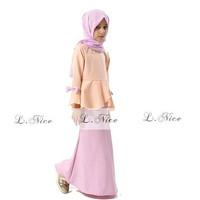 Setelan Lnice Top Skirt Plus Jilbab Segiempat| Baju Anak Import Lnice