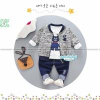 Setelan Senshukei 3in1 | Baju Anak Import Jacket Tee Pants Jeans Anak