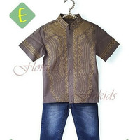 Setelan Koko Celana Flo Kids E| Baju Anak Import Muslim Baju Koko Grey