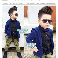 Setelan Senshukei 4in1 | Baju Anak Import Jacket Kemeja Celana Jeans