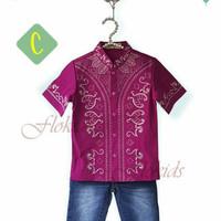 Setelan Koko Celana Flo Kids C| Baju Anak Import Set Baju Koko Purple