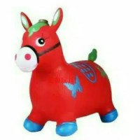 Mainan Anak tunggang kuda kudaan karet Jumping Animal Music