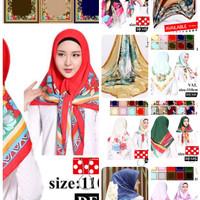 Jilbab Segi Empat Satin Motif Velvet Branded Motif - seri : Bi