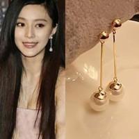 anting korea gold plated long pearl earrings jan062