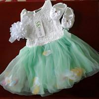 set 3 in 1 baju dress bayi tutu hijau import termurah