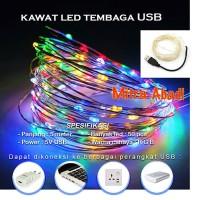Lampu Natal LED USB Kawat Tembaga RGB 5 Meter DC 5V