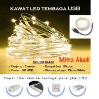 Lampu Natal LED USB Kawat Tembaga Warm White 5 Meter DC 5V