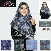 Segiempat Silk Glass Flower. Jilbab Dasya.Kerudung Organza Motif.Hijab