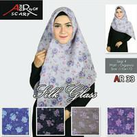 Segiempat Silk Glass Bunga. Jilbab Dasya. Kerudung Segi4 Organza Motif