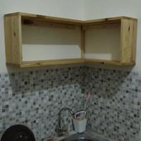 lemari rak kitchen set dinding siku kayu jati belanda