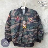 Jaket Bomber Army Anak Bolak-Balik Parasut Despo Fleece Loreng Size XL