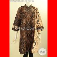 Dress Batik Saku Dalam Lengan 7/8 Resleting Belakang Size XL DR8649PB