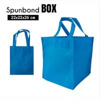 Per 12pc Tas Spunbond 22x22x26cm Kotak Nasbox Biru Goodiebag