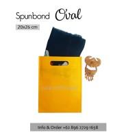 Per 20pc Tas Spunbond 20x26cm Oval Kuning Polos Goodiebag Shopping Bag