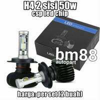 Headlamp Led CSP 50W H4 - Lampu Utama 2 Sisi Mobil [sepasang]