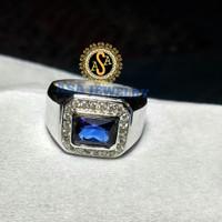 cincin pria perak batu blue zircon
