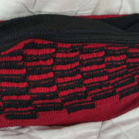 dompet rajut motif bambu