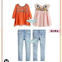 Set Senshukei 3in1 Top Orange Peach Flower Pants Jeans Baju Anak Impor
