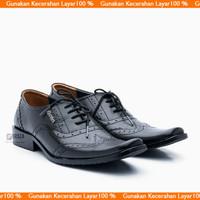 Sepatu Pria Kulit Asli Pantofel Formal Model LV Tali 9012HT - Hitam, 38