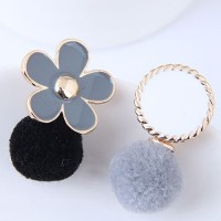 LRC Anting Tusuk Black+gray Flower Shape Decorated Pom Earring A53296