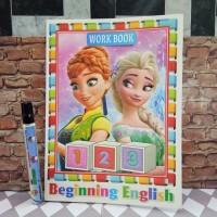 Buku Belajar Mewarnai Huruf Abjad ABC + Sticker Karakter Frozen