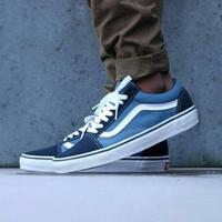 Sepatu VANS Old Skool Navy White Classic Size 39-44 Sepatu pria