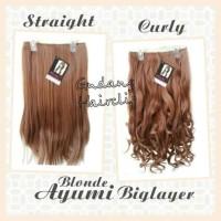 Hairclip Big Layer Ayumi Blonde ( Lurus / Curly )