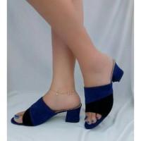 Heels sendal suede sepatu wanita Murah
