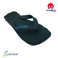 Sandal Swallow Premium Spectrum Pria Hitam - Logo Biru