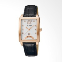 [original] Bonia B10013-1539V Jam Tangan Pria Leather Black