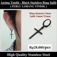 Anting Tindik Cowok Pria - Black Stainless Ring Salib