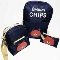 Murah/Tas Ransel Anak Brown Chips 3 in 1/Backpack Chips/Kids Backpack