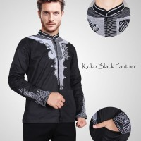Baju Koko Panther Black Hitam Lengan Panjang Katun Strech