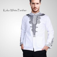 Baju Koko Panther White Putih Lengan Panjang Katun Strech