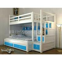 Dipan ranjang putih tingkat untuk kamar anak kayu jati free ongkir