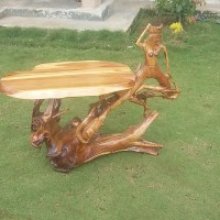 Meja kayu Akar Jati