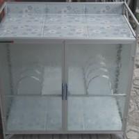 Meja Kompor Aluminium 2 Pintu (Bawah Keramik)