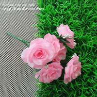jual dekorasi bunga tangkai mawar soft pink artificial tanaman palsu