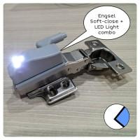 Engsel Sendok Lurus Soft Close dan LED Light Combo Strumento bkn huben