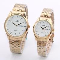 Jam Tangan Alba Couple Murah SK320 Rantai Gold Putih