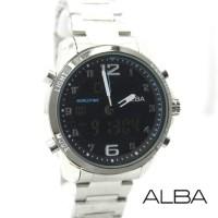Jam Tangan Pria / Cowok Alba Dual Time SK801 Rantai Silver Black Blue