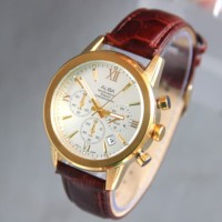 Jam Tangan Pria / Cowok Alba Chrono SK580 Leather Brown Kombi Gold