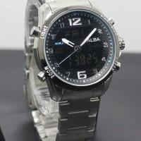 Jam Tangan Pria / Cowok Alba Dual Time SK801 Rantai Black Blue
