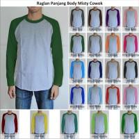 Tshirt / Kaos Polos Raglan Pria / Cowok Lengan Panjang Body Misty
