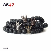 Gelang Batu Lava Crown Spacer 8mm Custom