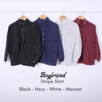 Baju Wanita Boyfriend Stripe Shirt