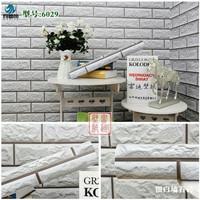 Bata putih 3D 45 cm x 10 mtr ~ Wallpaper dinding sticker